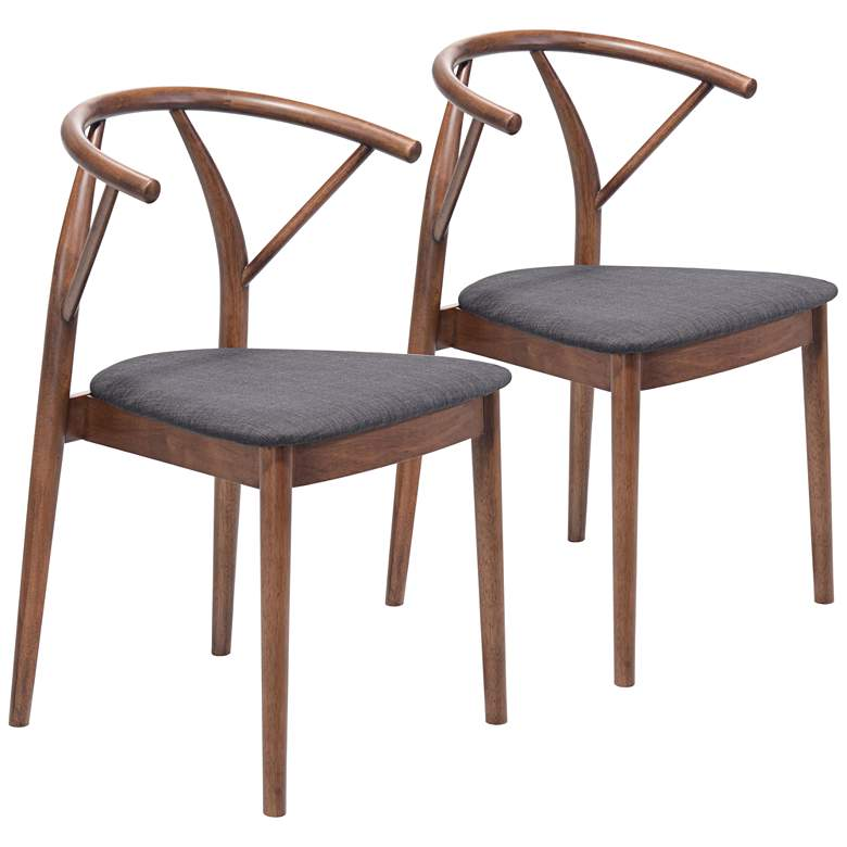 Zuo Communion Espresso Fabric Dining Chairs Set of 2