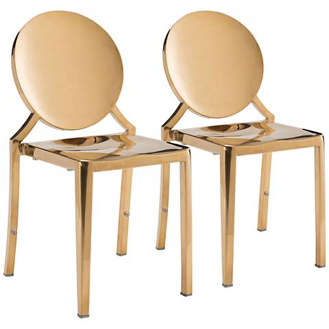 Zuo Eclipse Gold Dining Chairs Set of 2