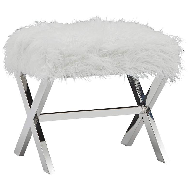 Clarissa White Sheepskin Ottoman with X-Base