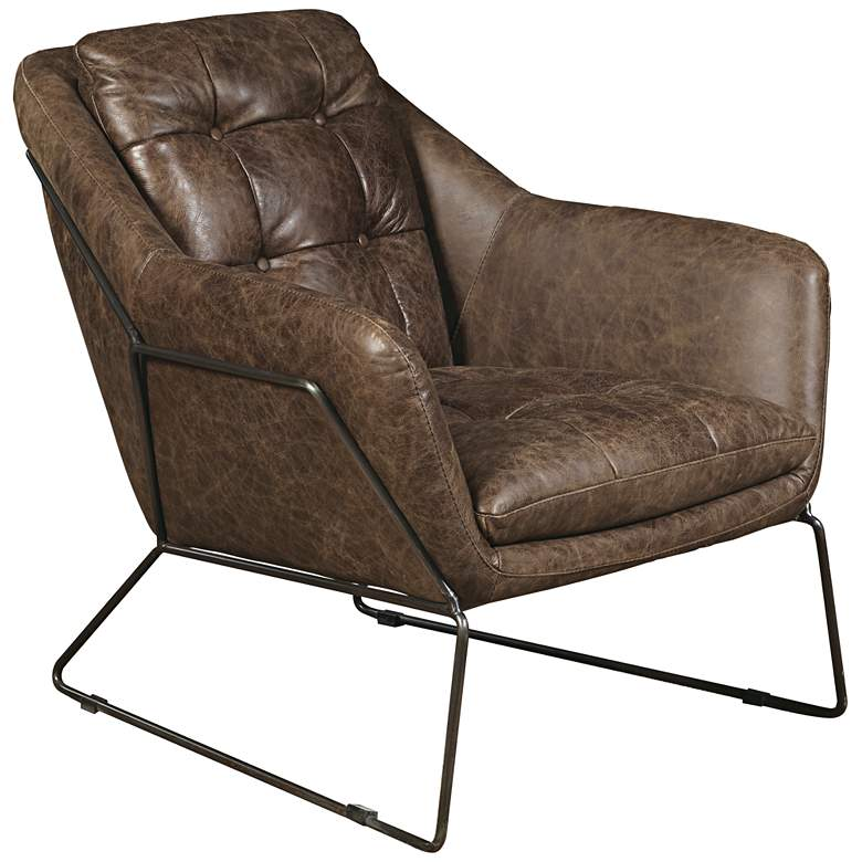 Clara Brown Leather Button Tufted Accent Chair