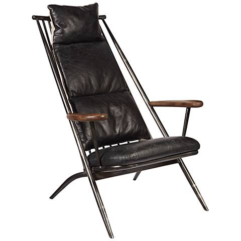 Charles Black Leather Accent Chair