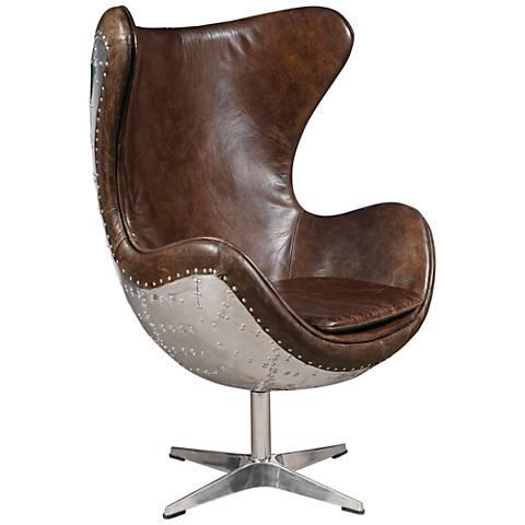 Darwin Leather-Bound Swivel Egg Armchair