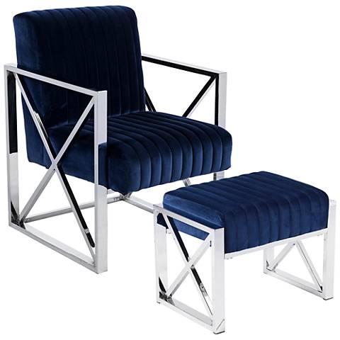 Ellison Deep Blue Velveteen 2-Piece Armchair and Ottoman Set