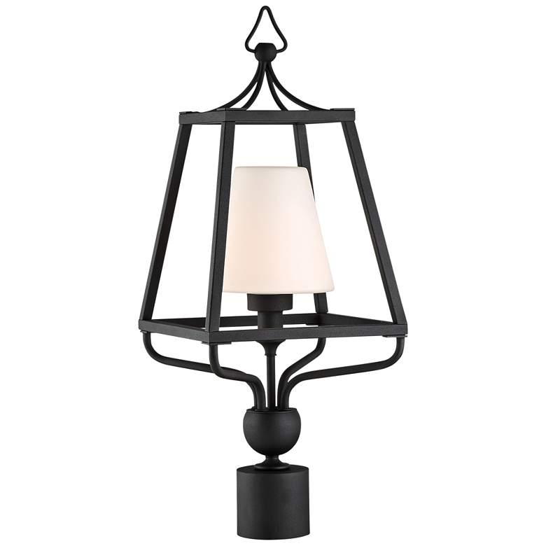 "Sylvan 22 1/2"" High Black and Opal Glass Outdoor Post Light"