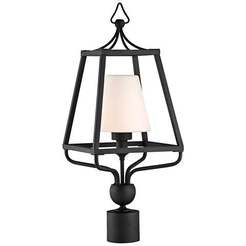 "Sylvan 22 1/2"" High Black and Opal Glass Outdoor Post Light"