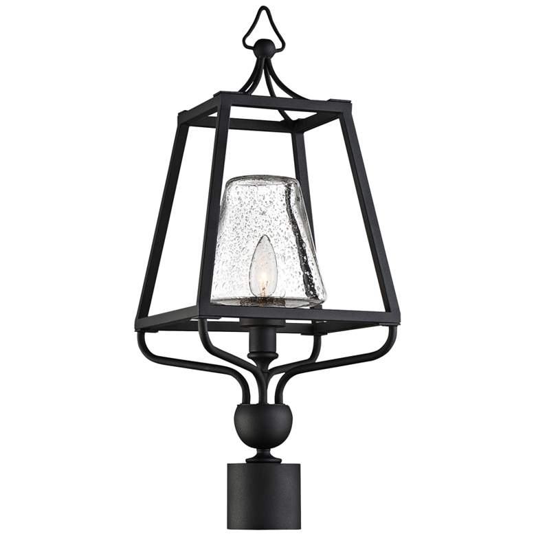 """Sylvan 22 1/2""""H Black and Seeded Glass Outdoor Post Light"""