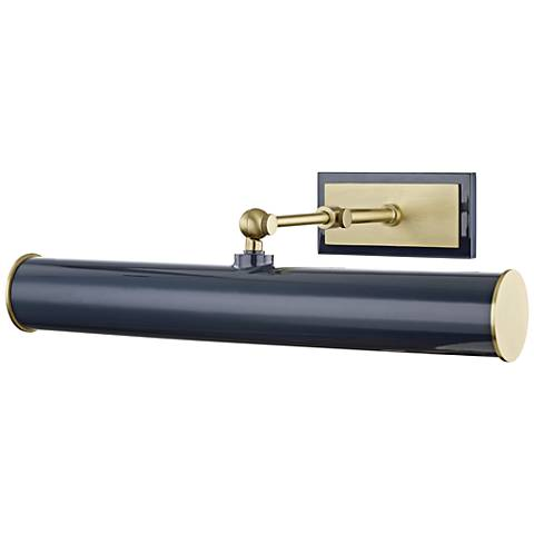 "Mitzi Holly 16 1/4"" Wide Aged Brass and Navy Picture Light"