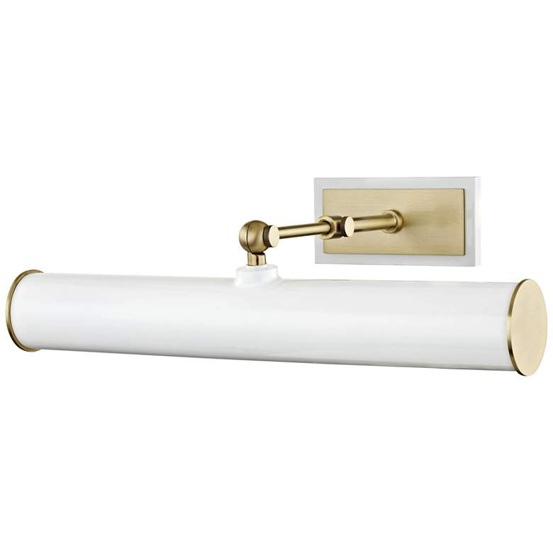 """Mitzi Holly 16 1/4"""" Wide Aged Brass and White Picture Light"""