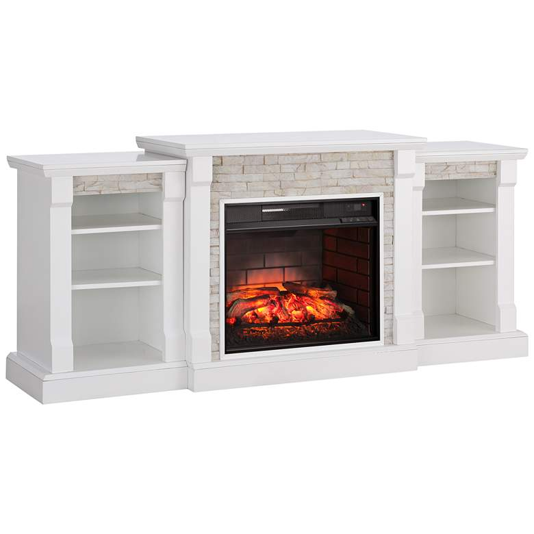 Gallatin White Simulated Stone Infrared Electric Fireplace 55p65