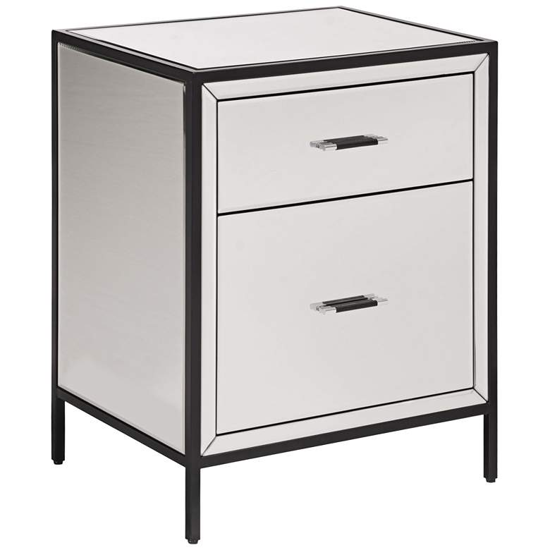 """Upton 20 1/4"""" Wide Mirrored 2-Drawer End Table"""