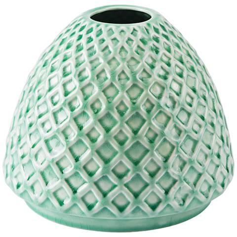 """Zuo Rombo Light Green 9"""" Wide Short Ceramic Vase"""