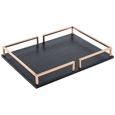 Zuo Black Faux Leather and Gold Square Tray