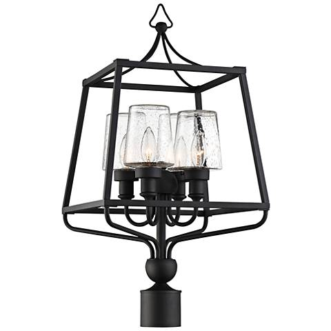"""Sylvan 26"""" High Black and Seeded Glass Outdoor Post Light"""