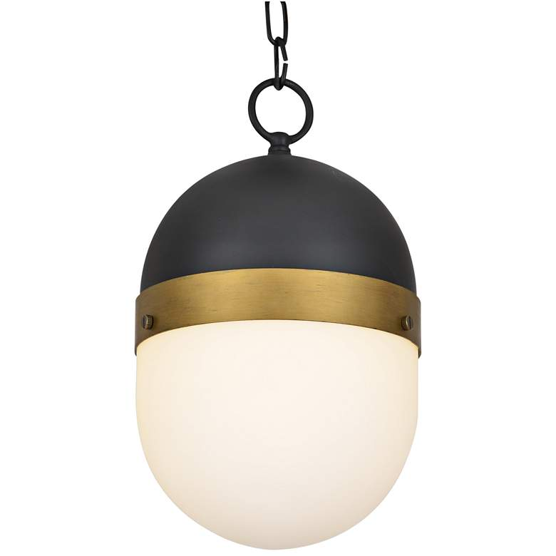 """Capsule 13 1/4""""H Matte Black and Gold Outdoor Hanging Light"""