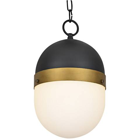 "Capsule 13 1/4""H Matte Black and Gold Outdoor Hanging Light"