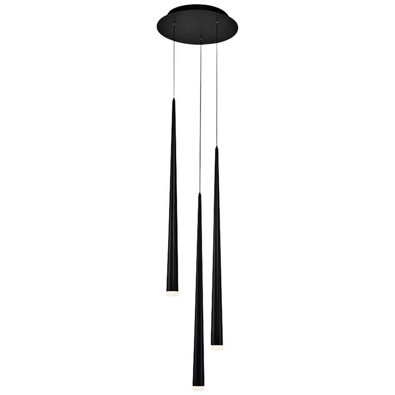 "Cascade 12""W Black w/ Frosted Glass LED Multi Light Pendant"