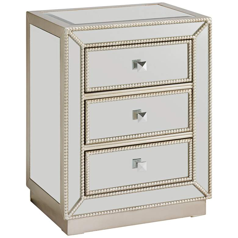 """Elsinore 20"""" Wide 3-Drawer Silver Mirrored Accent Table"""