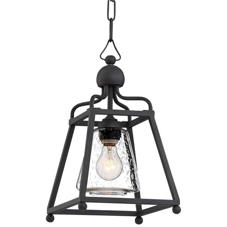 "Sylvan 16"" High Matte Black Forged Outdoor Hanging Light"