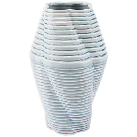 "Zuo Twisted Blue 13 1/2"" High Medium Ceramic Vase"