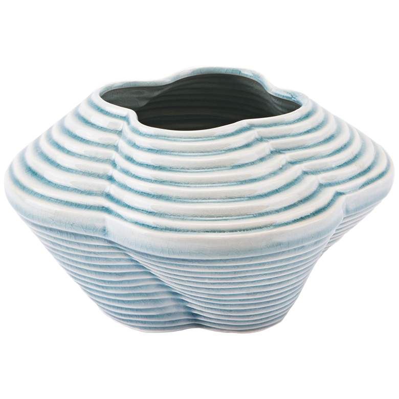 """Zuo Twisted Blue 10 1/4"""" Wide Small Ceramic Vase"""