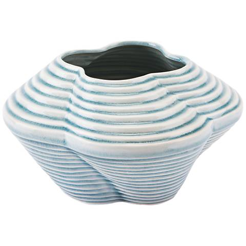 "Zuo Twisted Blue 10 1/4"" Wide Small Ceramic Vase"
