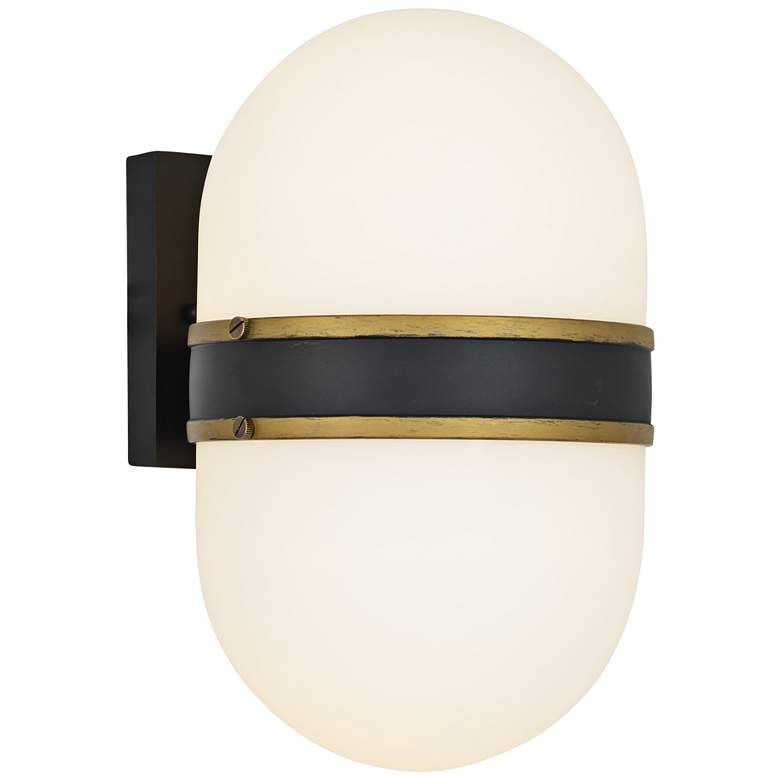 """Capsule 13 1/4"""" High Matte Black and Gold Outdoor Wall Light"""