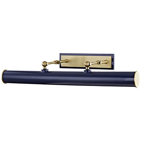 """Mitzi Holly 24 1/4"""" Wide Aged Brass and Navy Picture Light"""