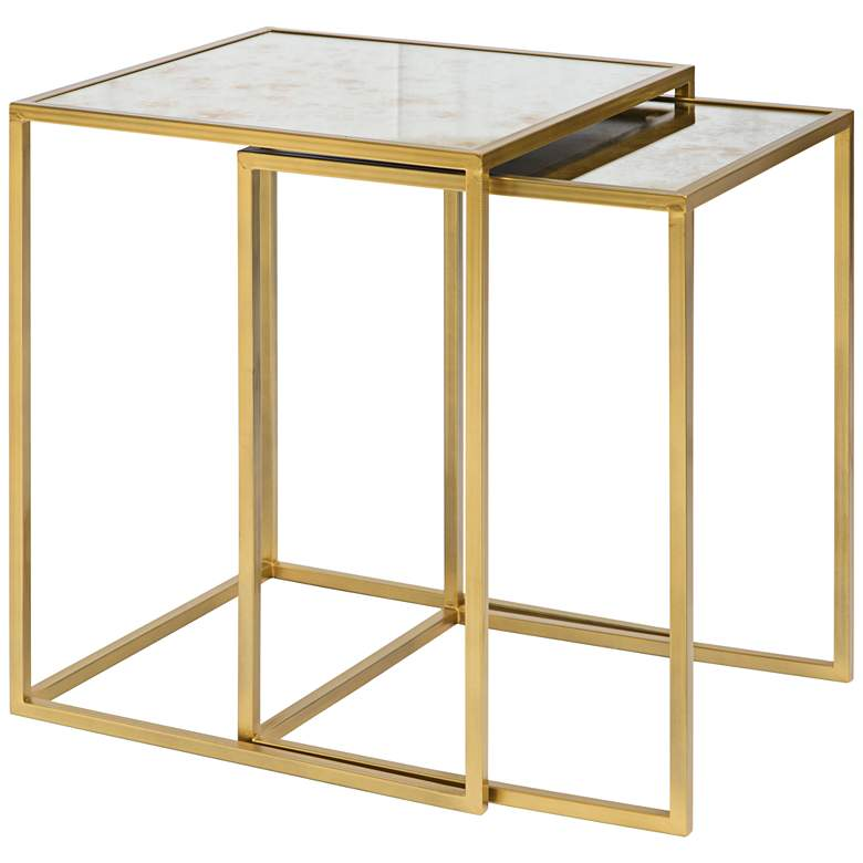 """Zuo Calais 18"""" Wide Brass Finish Nesting Tables - Set of 2"""