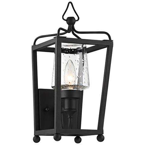 """Sylvan 17 1/2""""H Black and Seeded Glass Outdoor Wall Light"""
