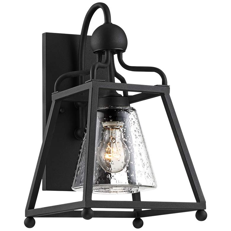 "Sylvan 15 1/4""H Black and Seeded Glass Outdoor Wall Light"
