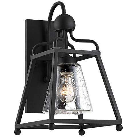 """Sylvan 15 1/4""""H Black and Seeded Glass Outdoor Wall Light"""