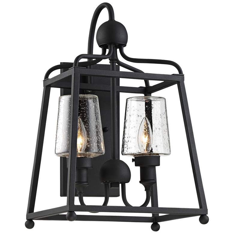 """Sylvan 18"""" High Black and Seeded Glass Outdoor Wall Light"""