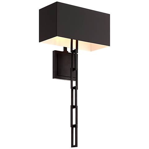 """Crystorama Alston 24 1/2""""H Matte Black and White Wall Sconce"""