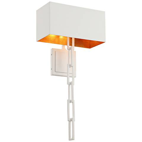 "Crystorama Alston 24 1/2""H Matte White and Gold Wall Sconce"