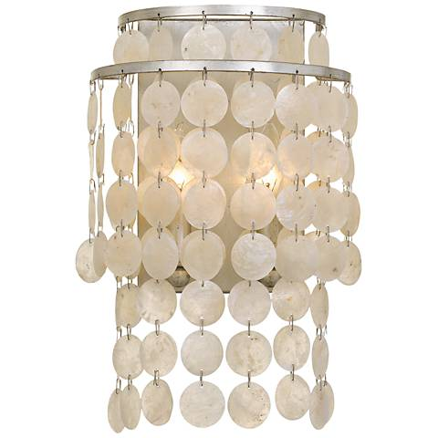 """Crystorama Brielle 14"""" High Antique Silver Wall Sconce"""