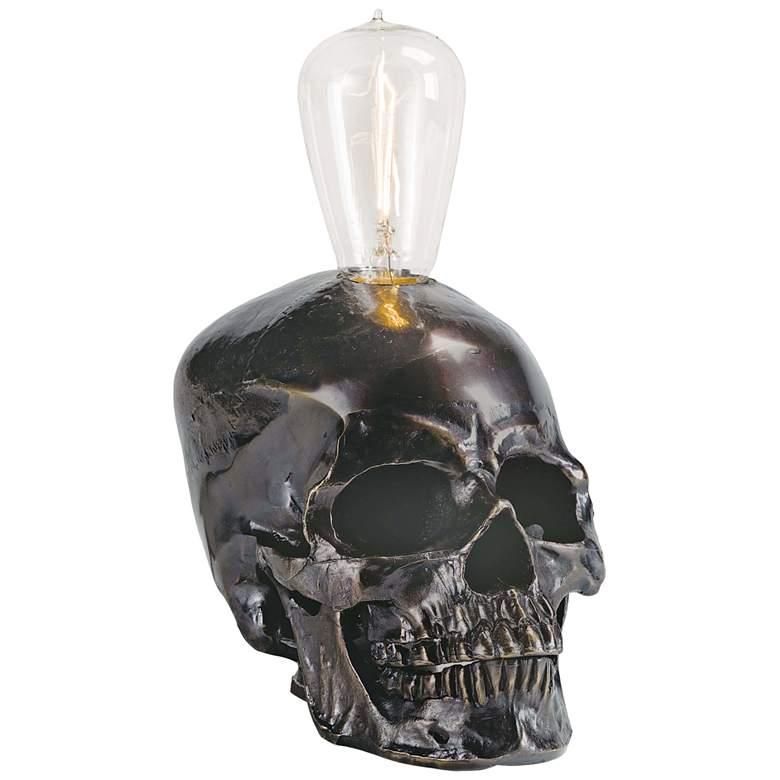 "Skull 6 1/4"" High Bronze Accent Night Light Table Lamp"