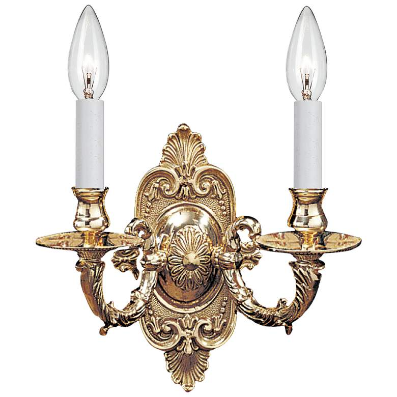"Cast Brass Wall Mount 9 1/2"" High 2-Light Wall Sconce"