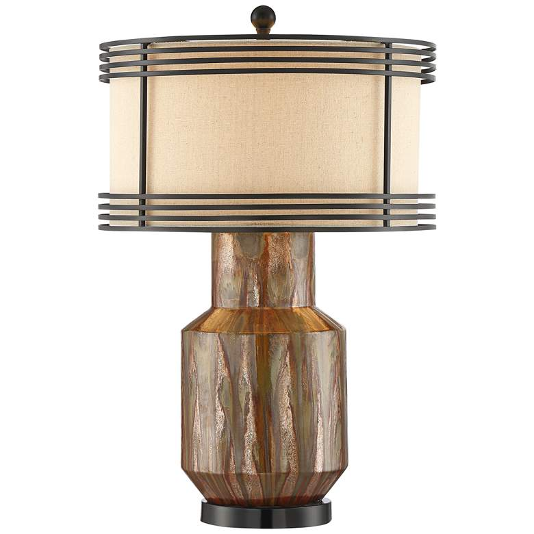 Arthur Copper Ceramic Double Shade Table Lamp
