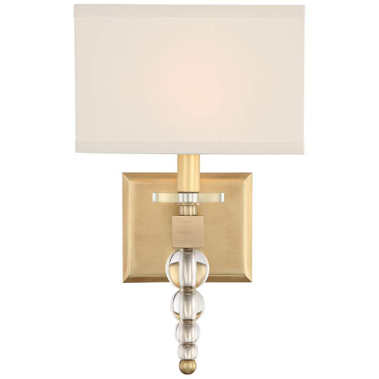 "Crystorama Clover 16"" High Aged Brass Wall Sconce"
