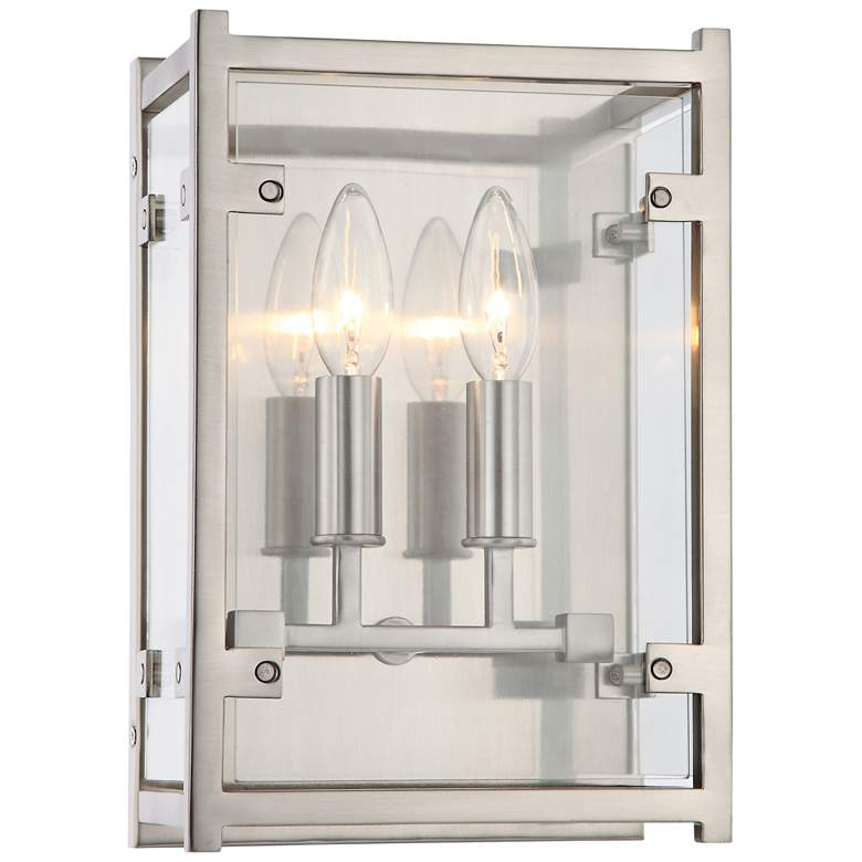 "Crystorama Danbury 12""H Brushed Nickel 2-Light Wall Sconce"