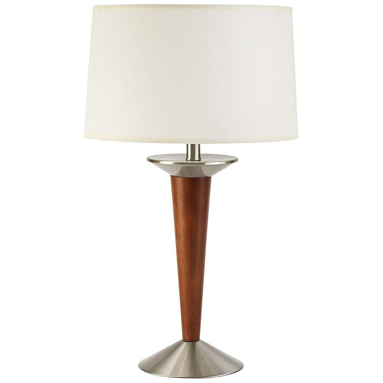 Amberson Brushed Steel and Cherry Tapered Table Lamp