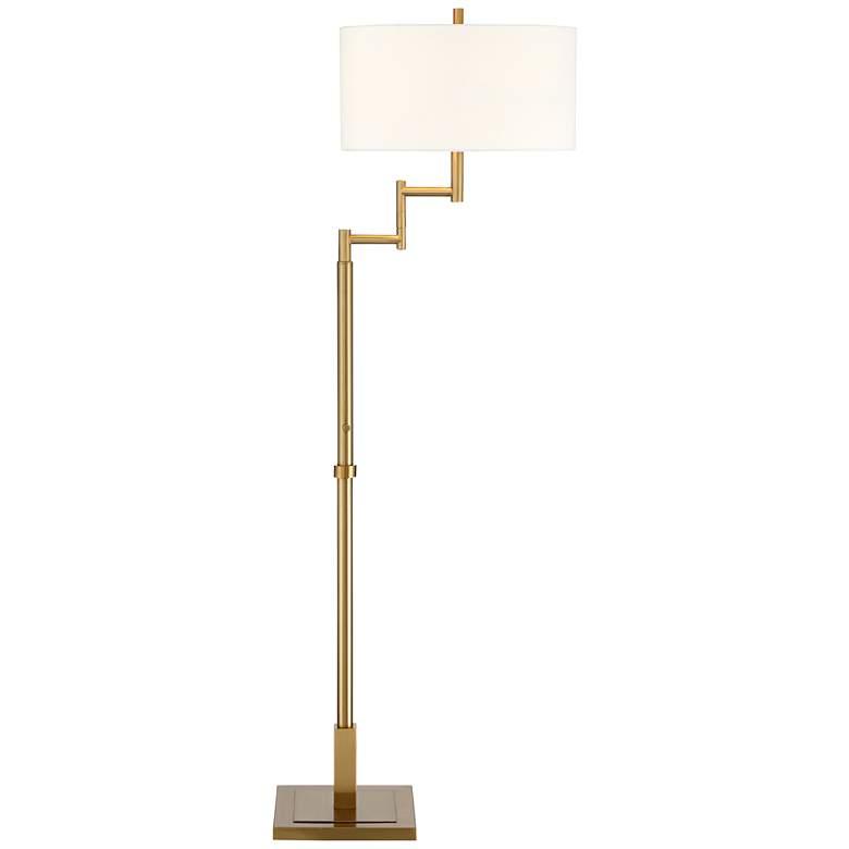 Possini Euro Lyndon Warm Antique Brass Swing Arm Floor Lamp