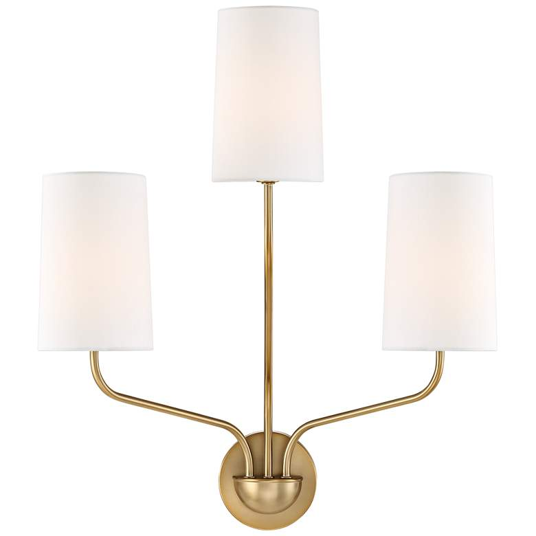 "Crystorama Leigh 22"" High Aged Brass 3-Light Wall Sconce"