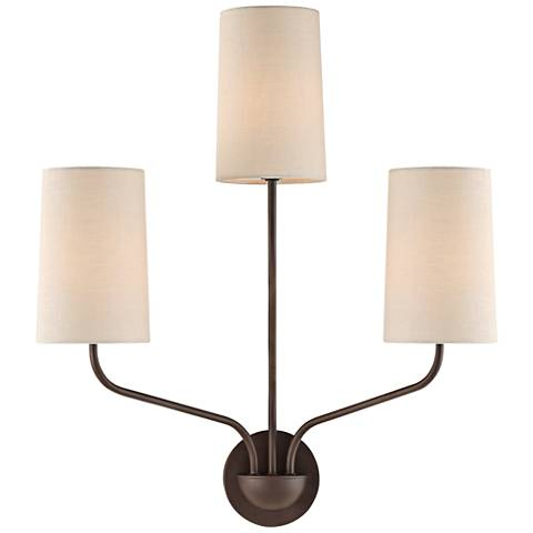 "Crystorama Leigh 22"" High Dark Bronze 3-Light Wall Sconce"