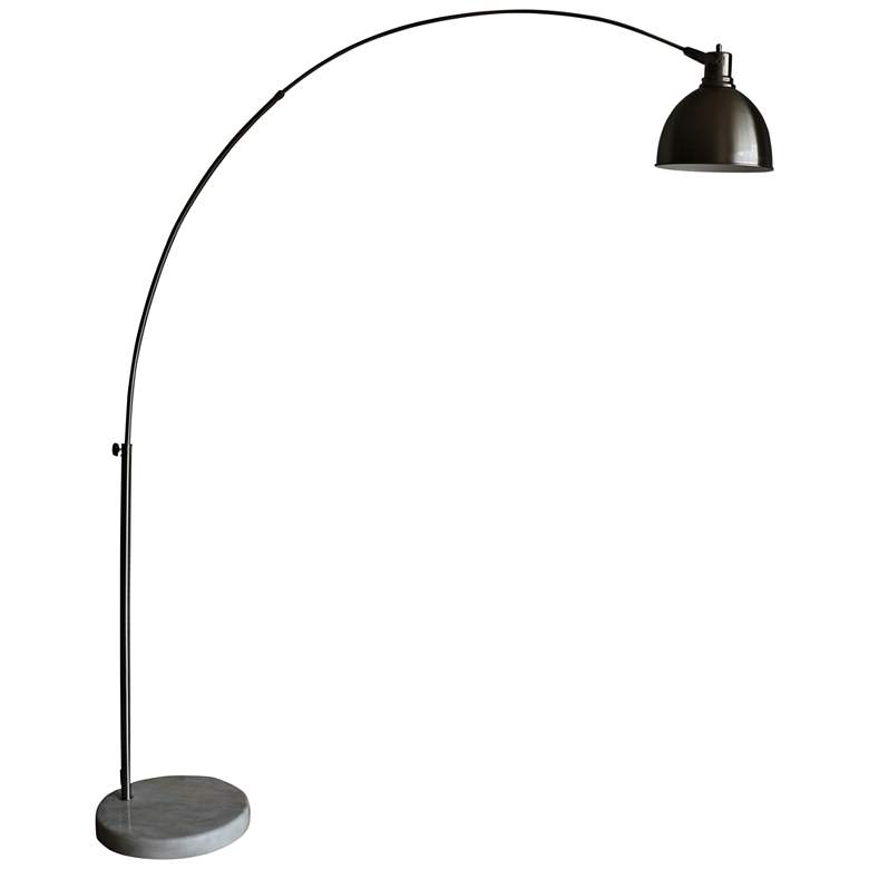 Aria Brushed Steel Arch Floor Lamp with Swivel Studio Head
