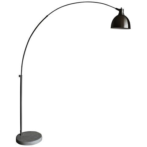 Aria Brushed Steel Arch Floor Lamp with Swivel Studio Head