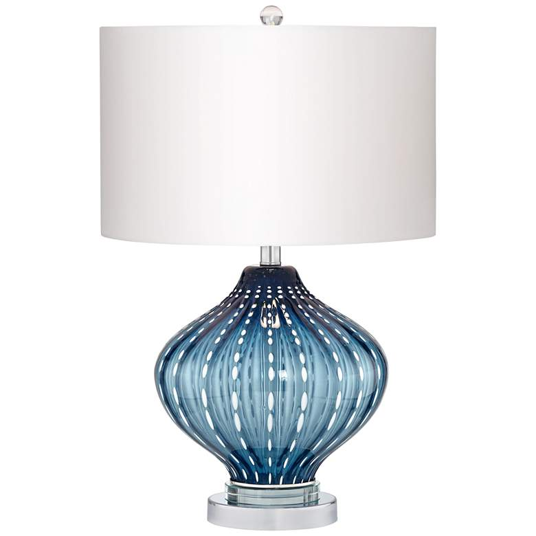 Jewel of The Sea Smoke Blue Art Glass Table Lamp