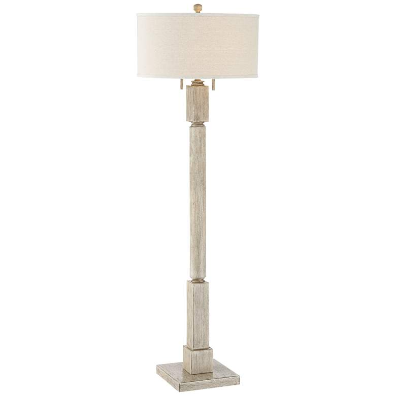 Baluster Pickled Wood Finish Floor Lamp