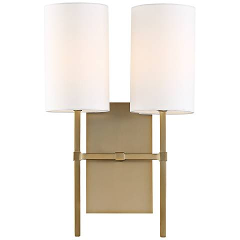 "Crystorama Veronica 16 1/2""H Aged Brass 2-Light Wall Sconce"