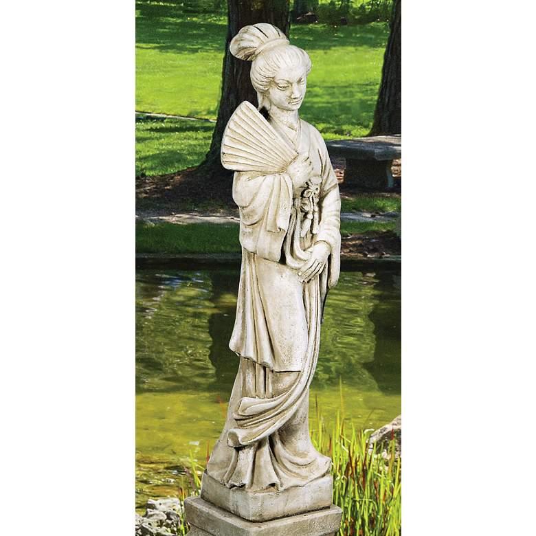 "Oriental Maiden 40"" High Trevia Greystone Outdoor Statue"